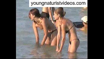 lesbians beach sex at nude Bouncing natural tits