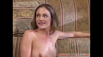 in takes of hubby slim wife front creampies her Annie cruz doggy style on the floor