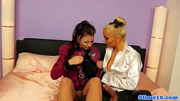 femdom lesbian face slapping German share wife with boss