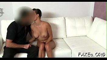 beautiful fake agent Amateur wife takes a massive facial
