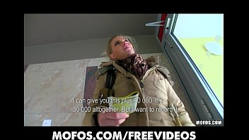 blonde flash bus Femdom forced self cum